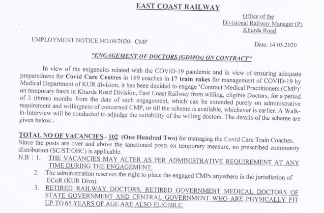 East Coast Railway GDMO Recruitment 2020