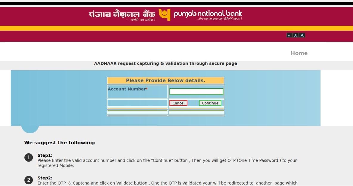 PNB Bank Account OTP Based Aadhaar Seeding