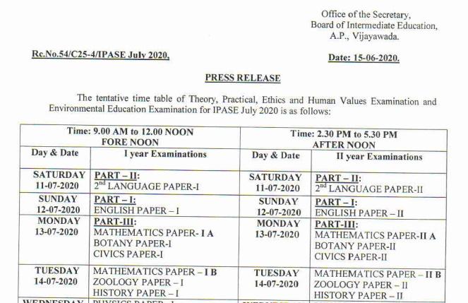 AP Inter Supply Exam Dates July 2020