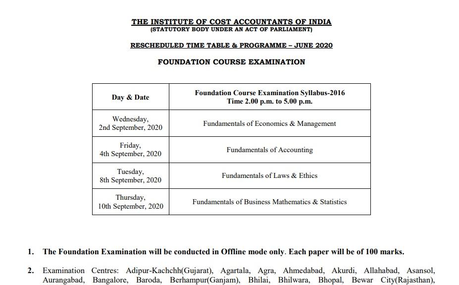 CMA Exam Schedule