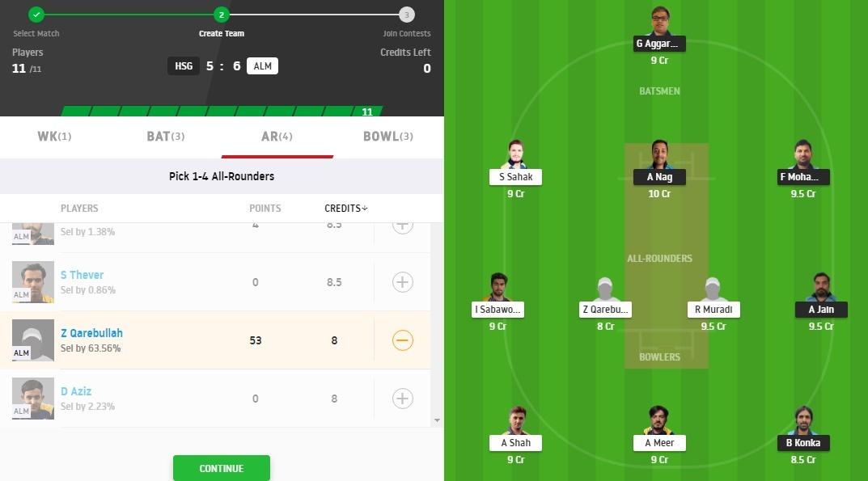 HSG vs ALM Dream11 Prediction