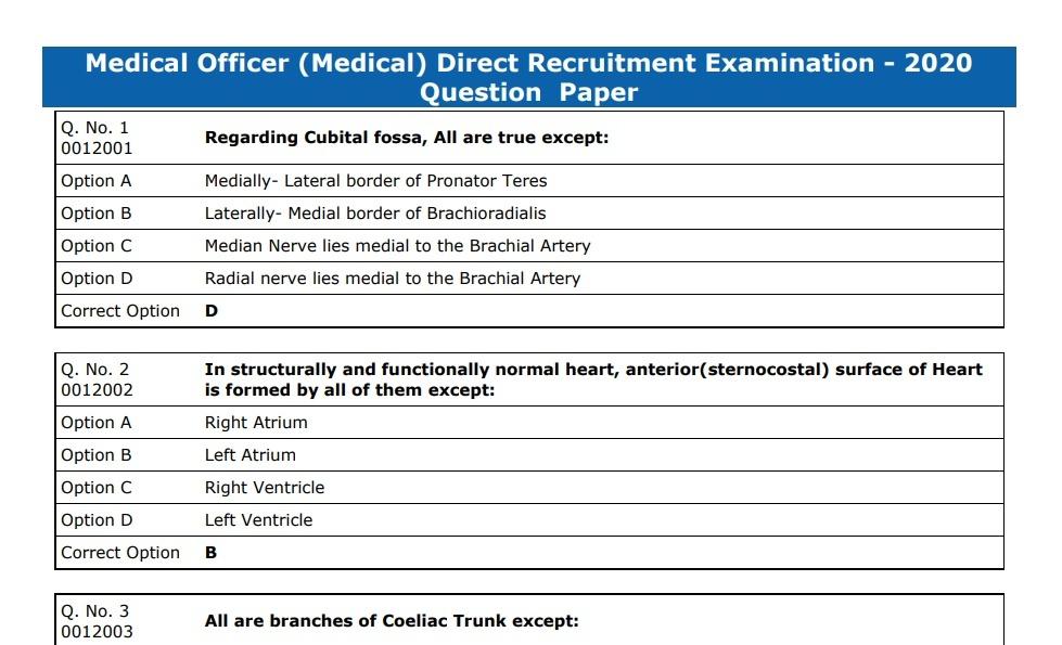Rajasthan Medical Officer Exam 2020 Answer Key