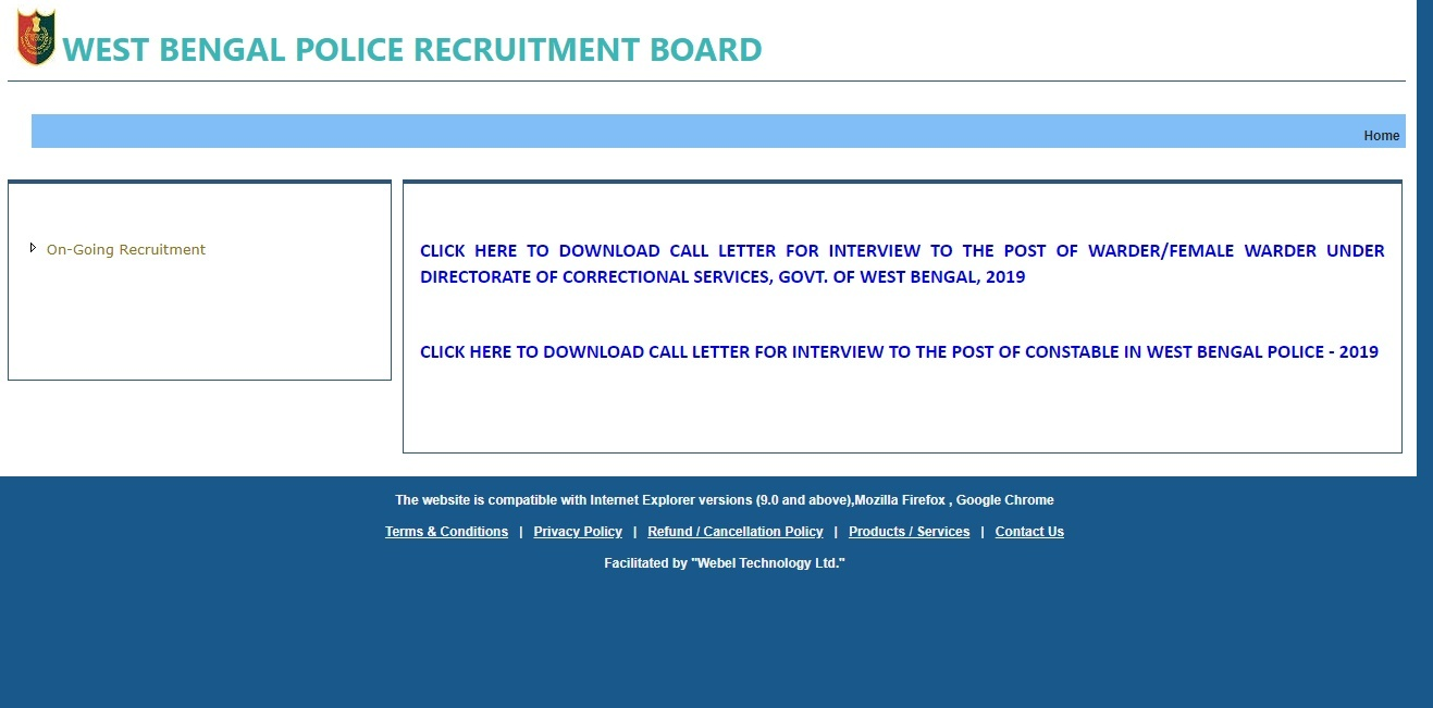 WBP Constable Interview Admit Card 2020