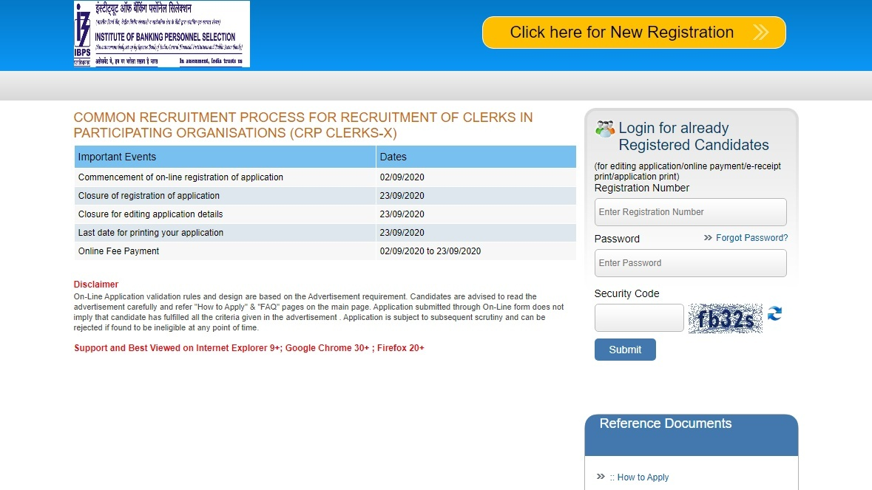 IBPS CRP Clerk X Recruitment 2020