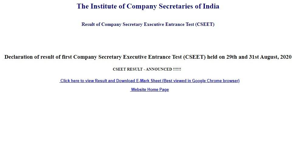 ICSI CSEET Result 2020