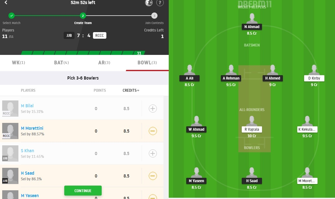 JJB vs RCCC Dream11 Prediction