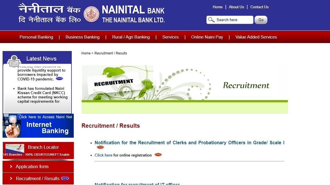 Nainital Bank PO Clerk Recruitment 2020