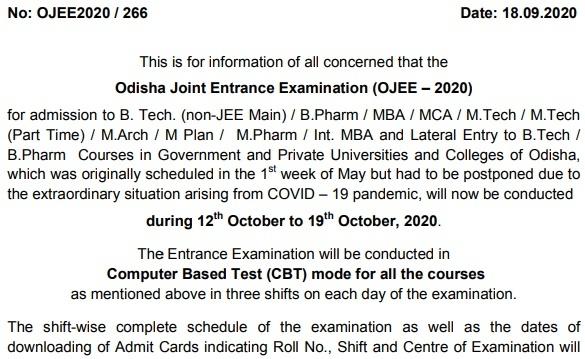 OJEE 2020 Exam Date