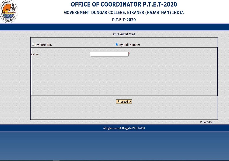 Rajasthan PTET Admit Card 2020