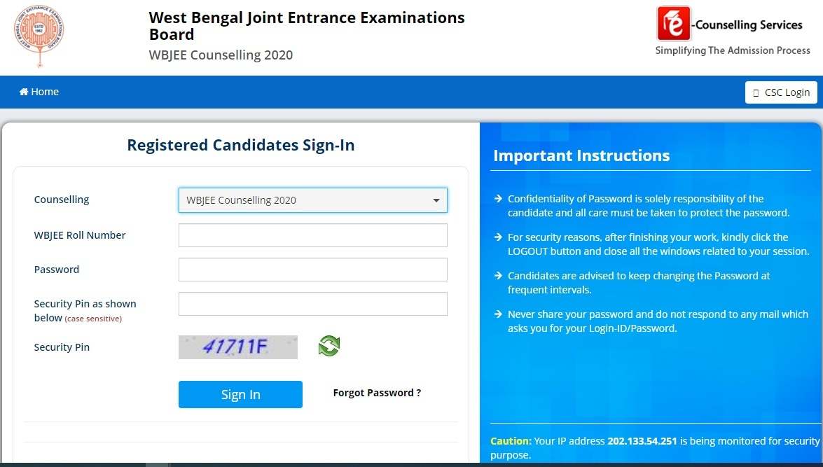 WBJEE 2nd Round Counselling Result 2020