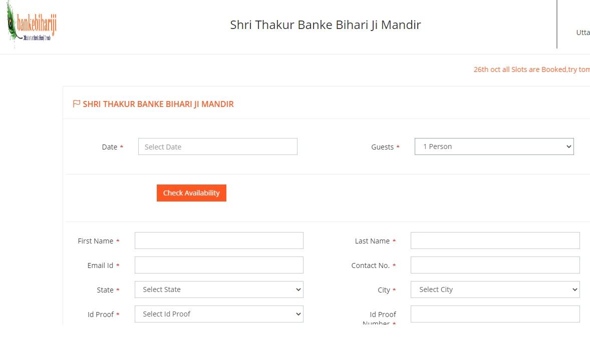 Banke Bihari Online Registration