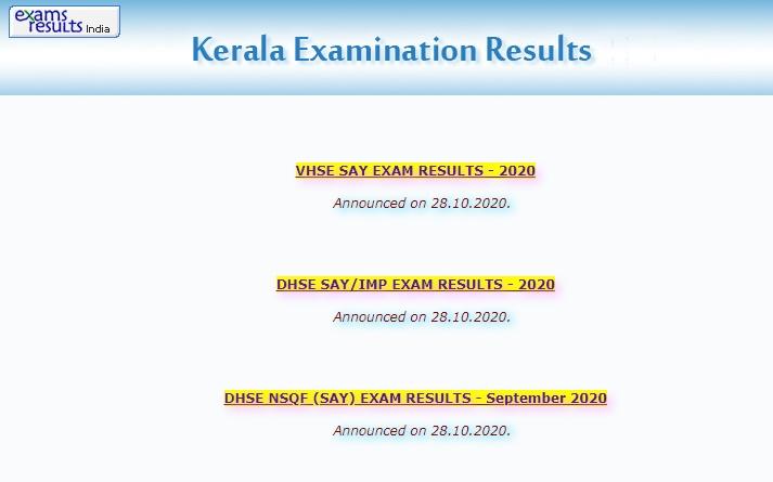 Kerala Plus Two Say Exam Result 2020 School Wise