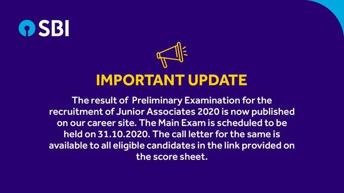 Sarkari Result SBI Clerk Result 2020