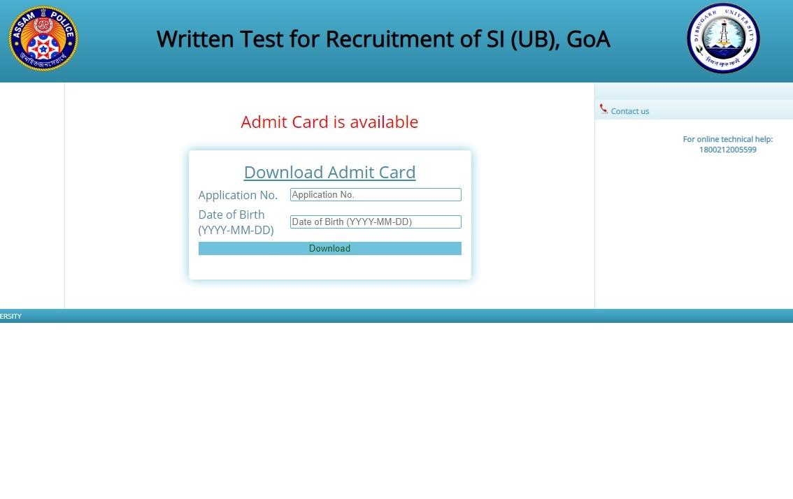 SLPRB Assam SI Admit Card 2020