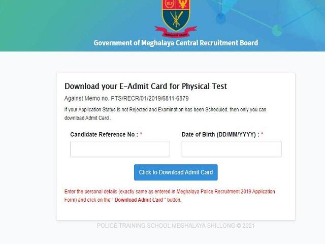 Meghalaya Police PET Admit Card 2021