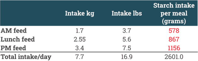 34 percent starch racehorse feed