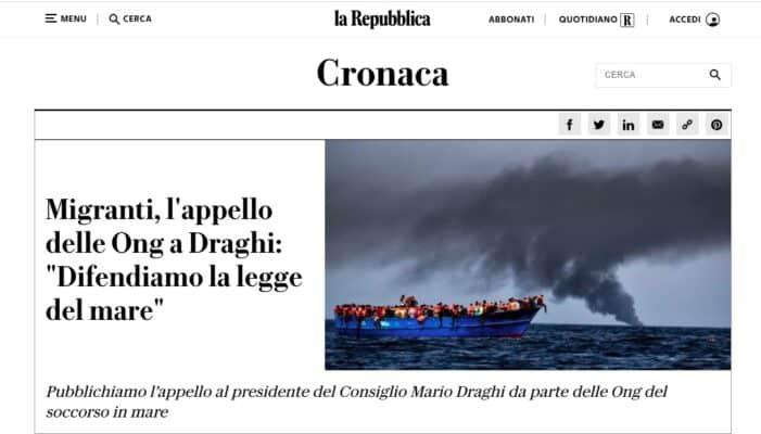 """L'immagine mostra il titolo di un articolo di Repubblica: """"Migranti, l'appello delle Ong a Draghi: 'Difendiamo la legge del mare'"""""""
