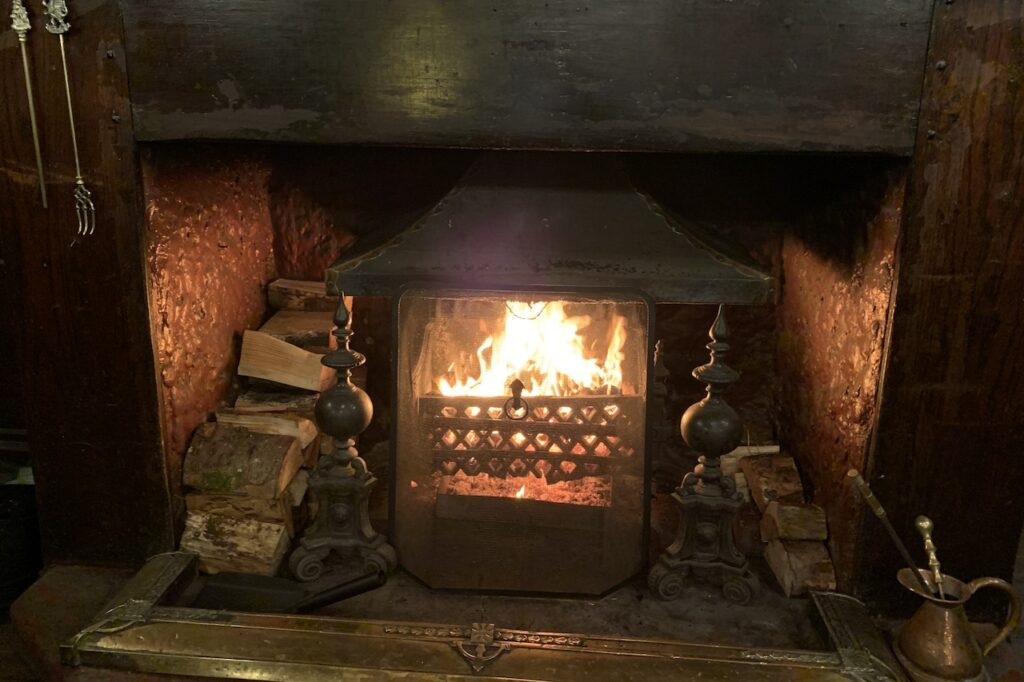 Welcoming fire at The Royal at Hayfield