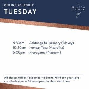 Online Class Schedule for ZOOM