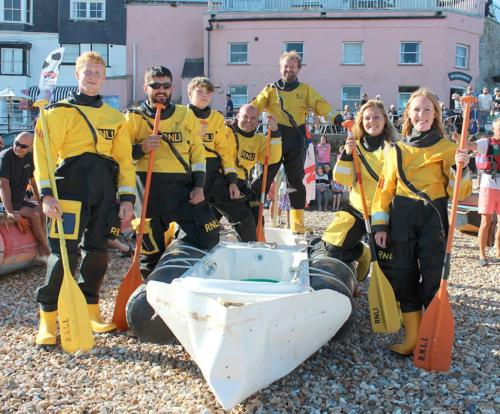 The lifeboat crew set for the bathtub race