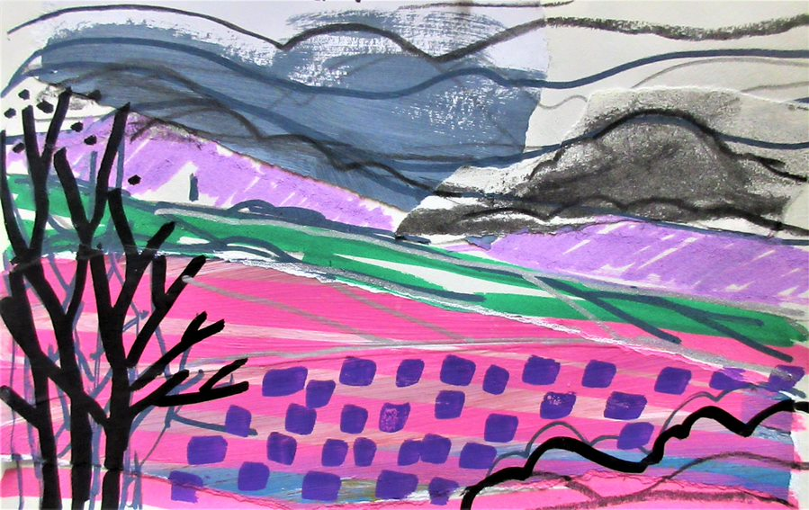 Abstract Mixed Media Landscape – Zoom class online