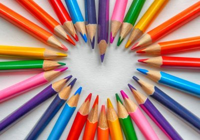 Colouring Pencils in a Heart Shape