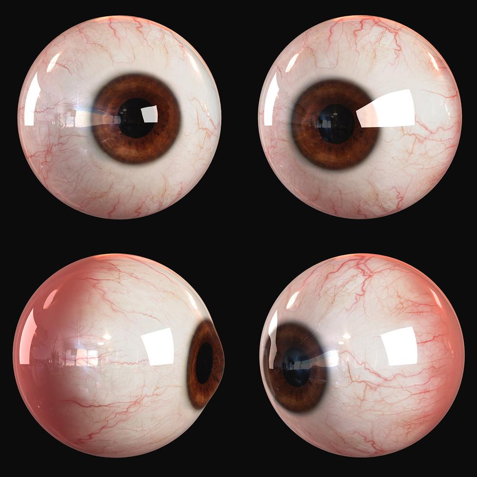 3d human eyes render, brown eye color, environment reflection