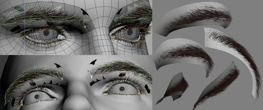 WSM Hair and Fur modifiers for eyelashes and eyebrows