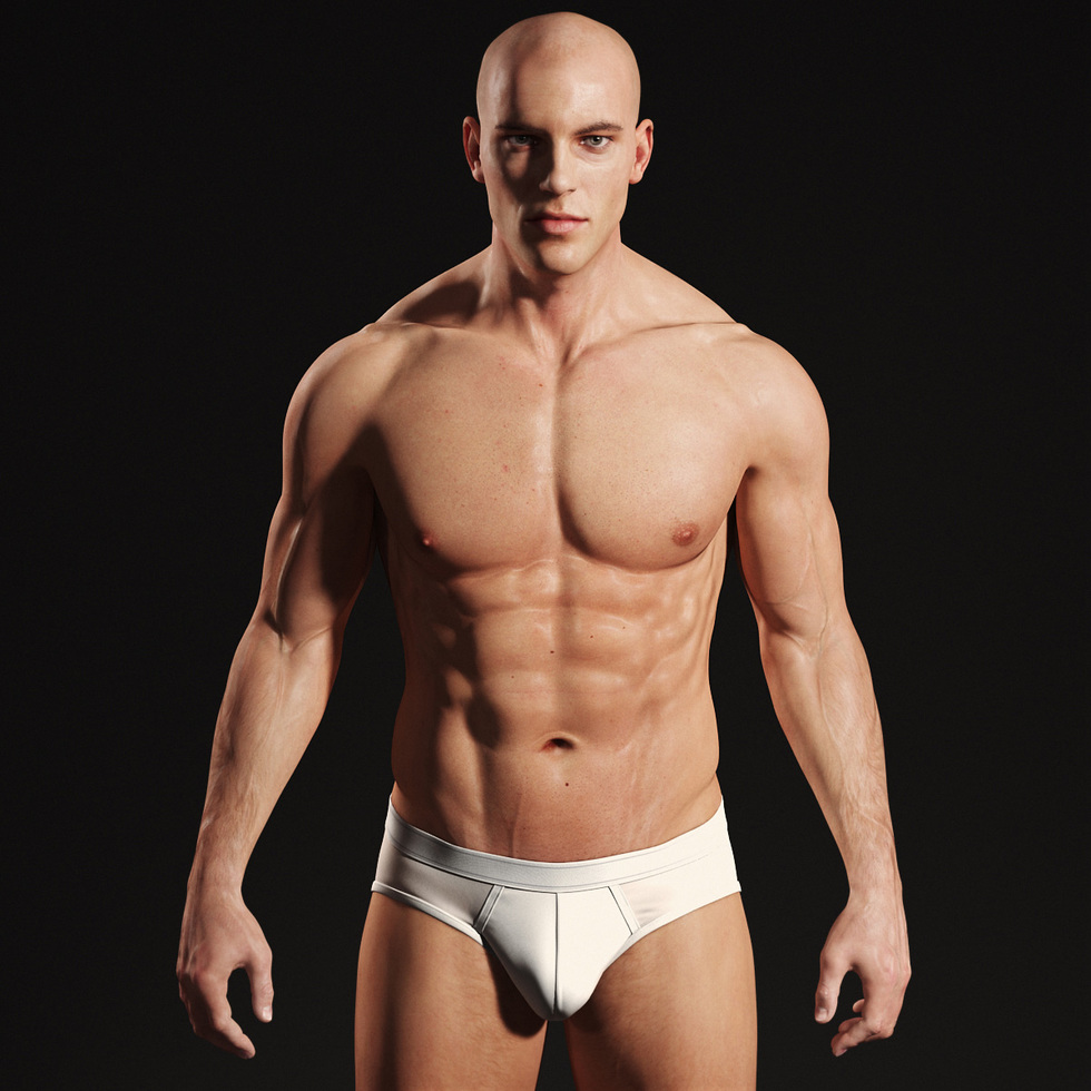 Andor Kollar Realistic Male Body 3d, stand front with underwear