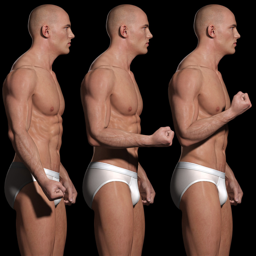 male body 3d muscle movements of upper arm