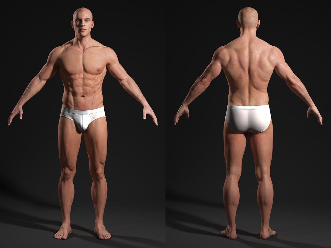 3d male body t-pose