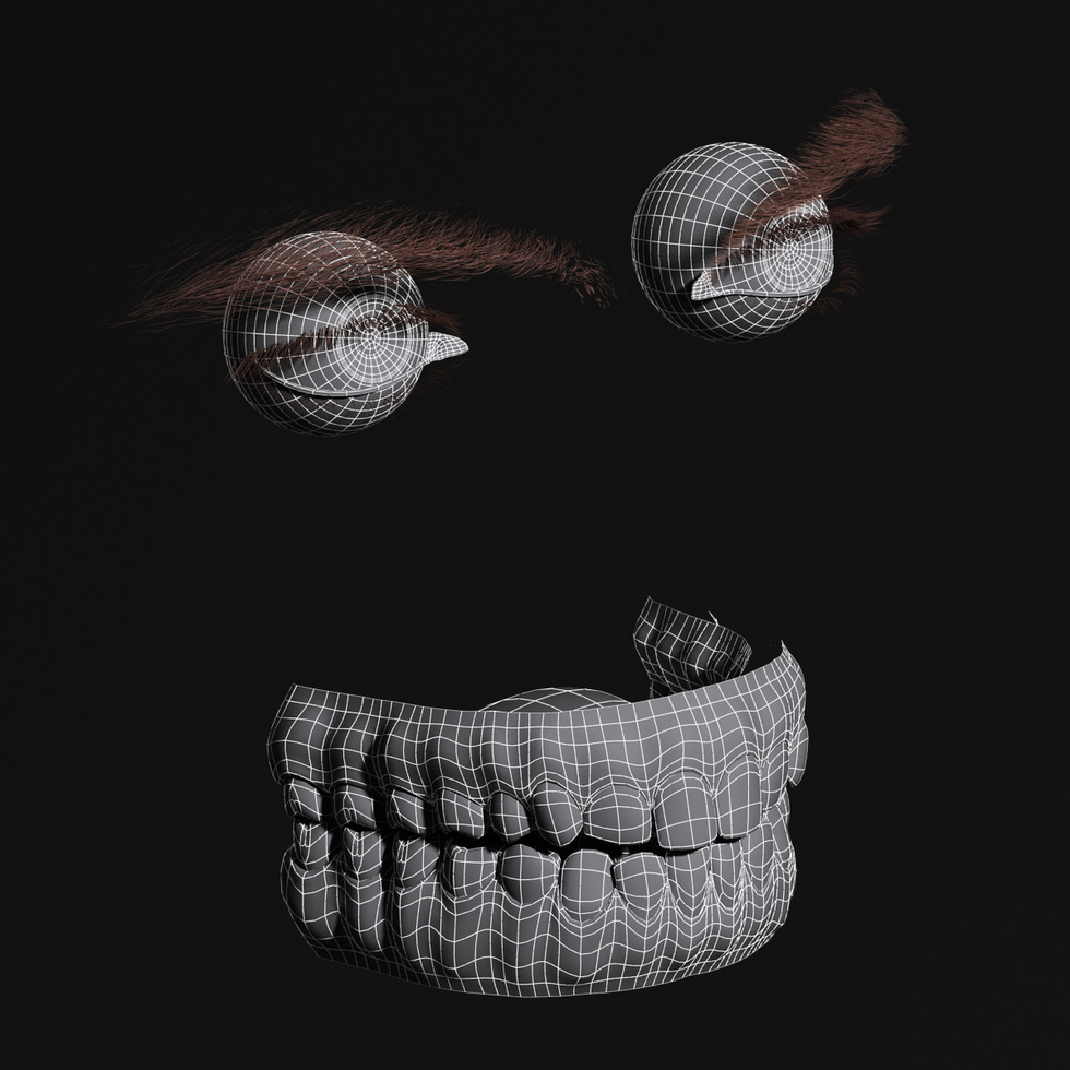 3d teeth eye eyebrow wireframe