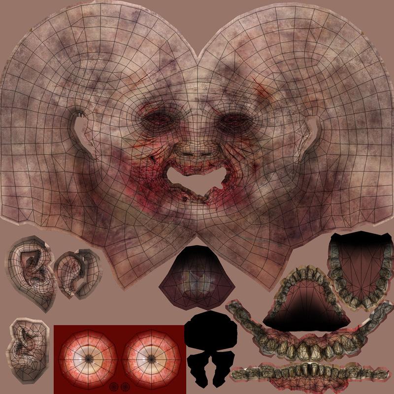 zombie head uv map