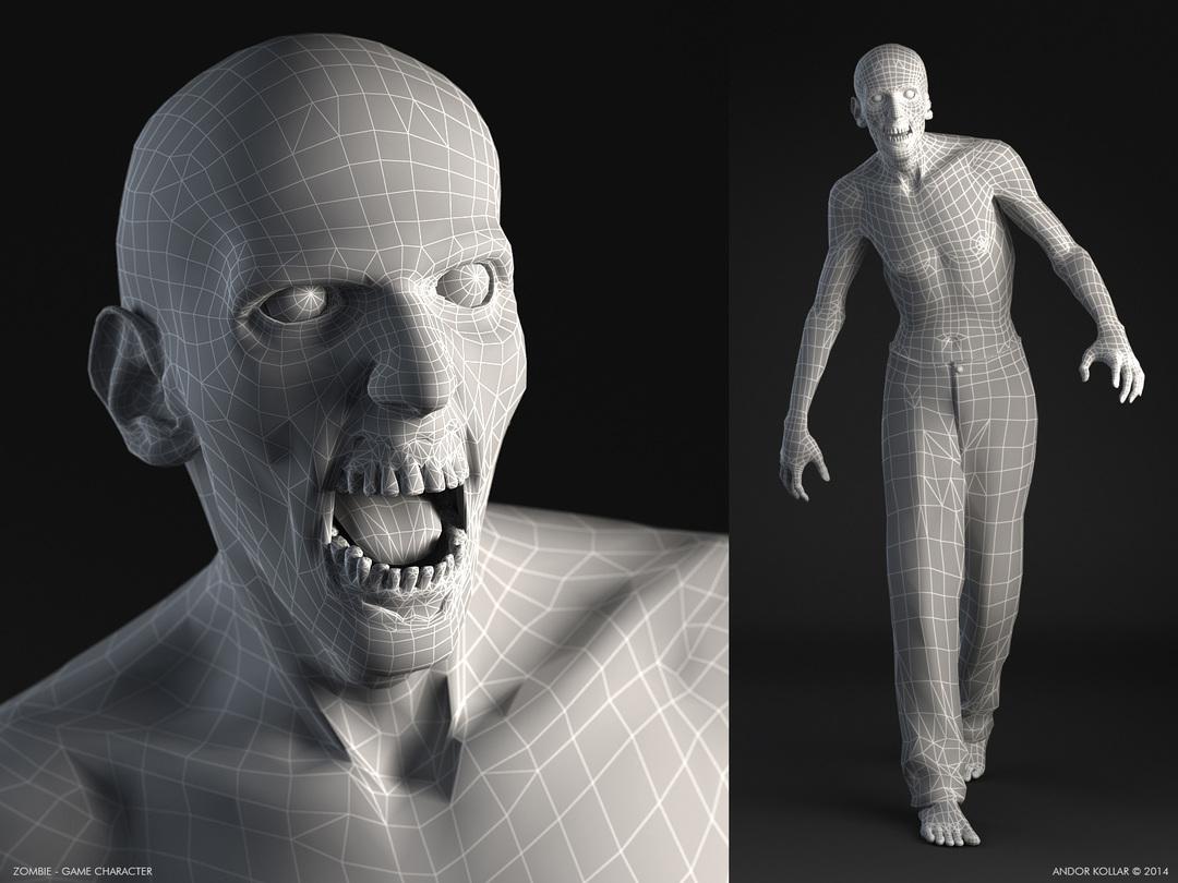 3d zombie low poly wireframe