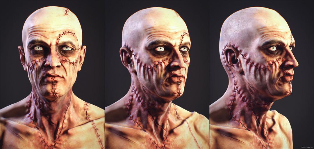 Slim Monster Frankenstein Creature Scarface Head