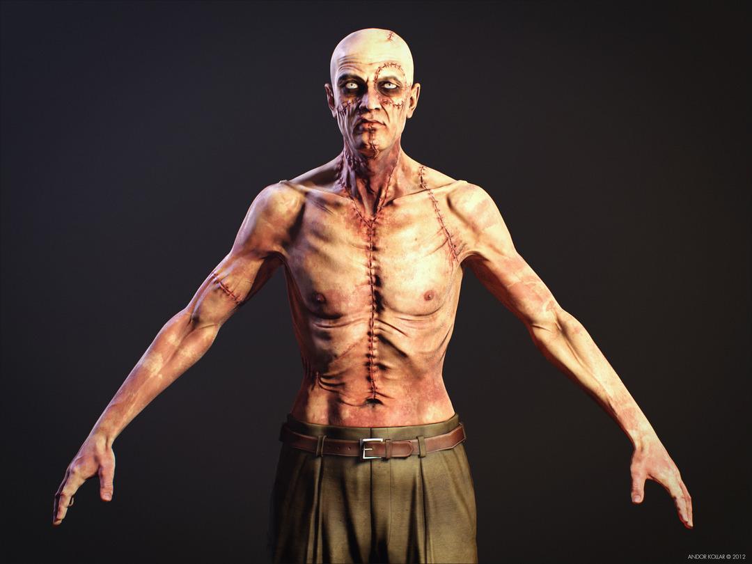 Slim Monster Frankenstein Creature Scar