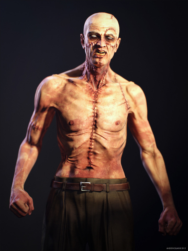Angry Slim Monster Frankenstein Creature Scar