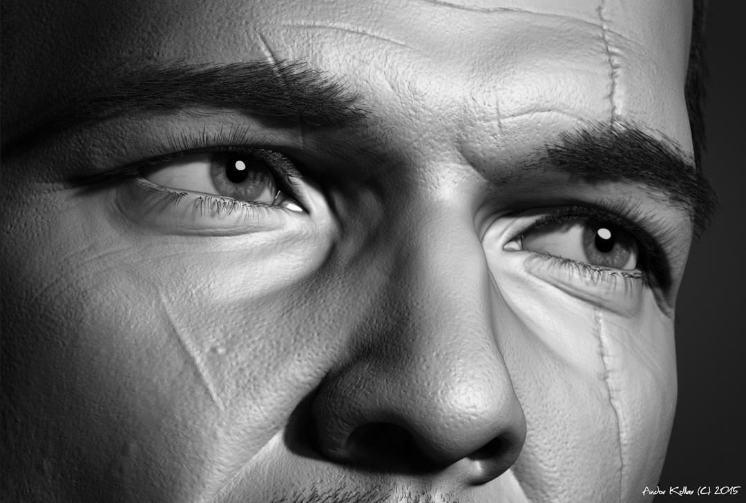 Andor Kollar Eye closeup in ZBrush