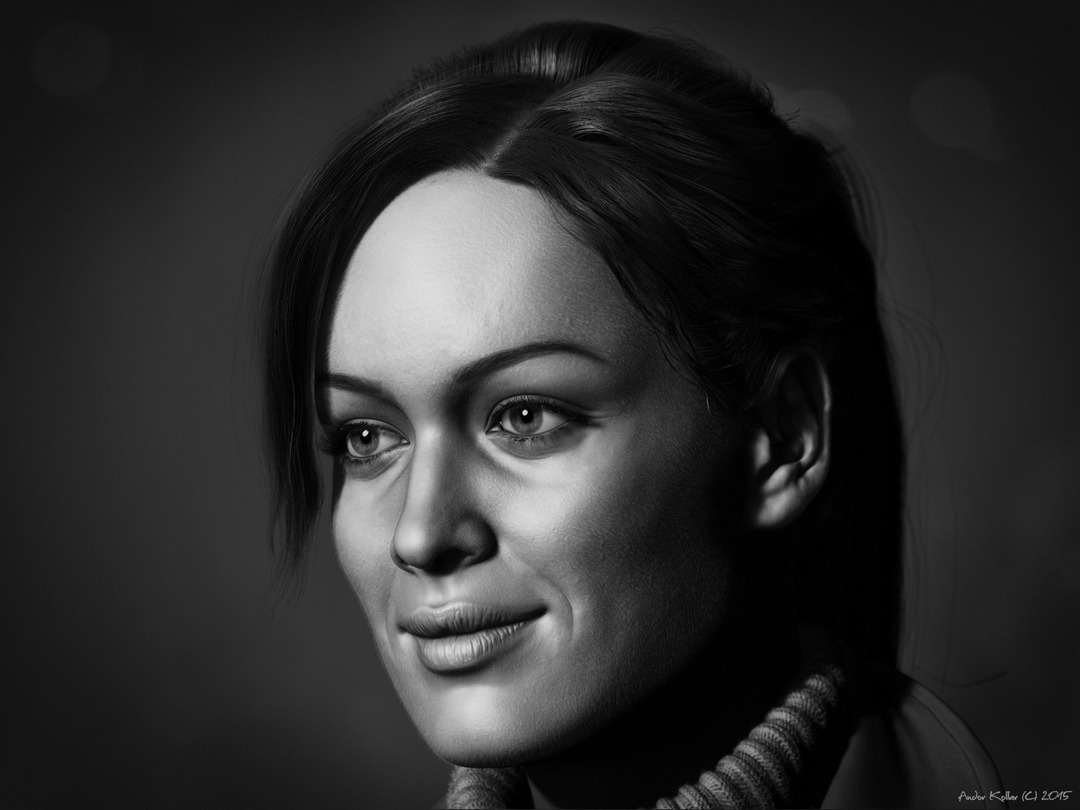 Black and white ZBrush render of Andor Kollar, pretty girl with smile and peach fuzz