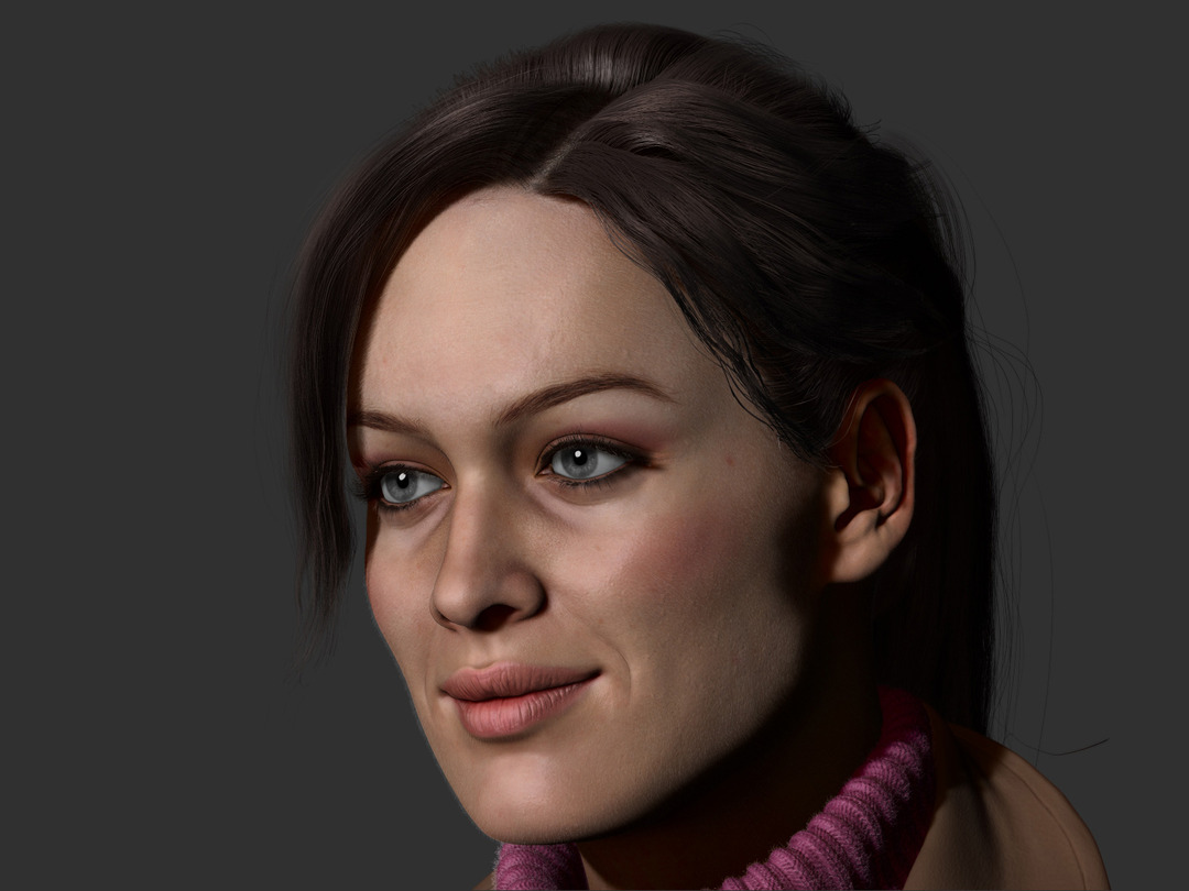 ZBrush render of Andor Kollar, pretty girl with smile and peach fuzz