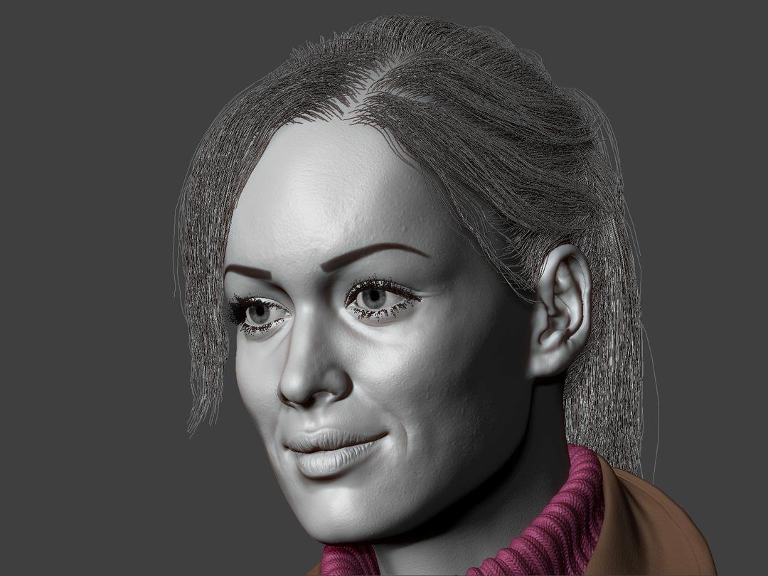 ZBrush screenshot, pretty girl with smile and FiberMesh hair