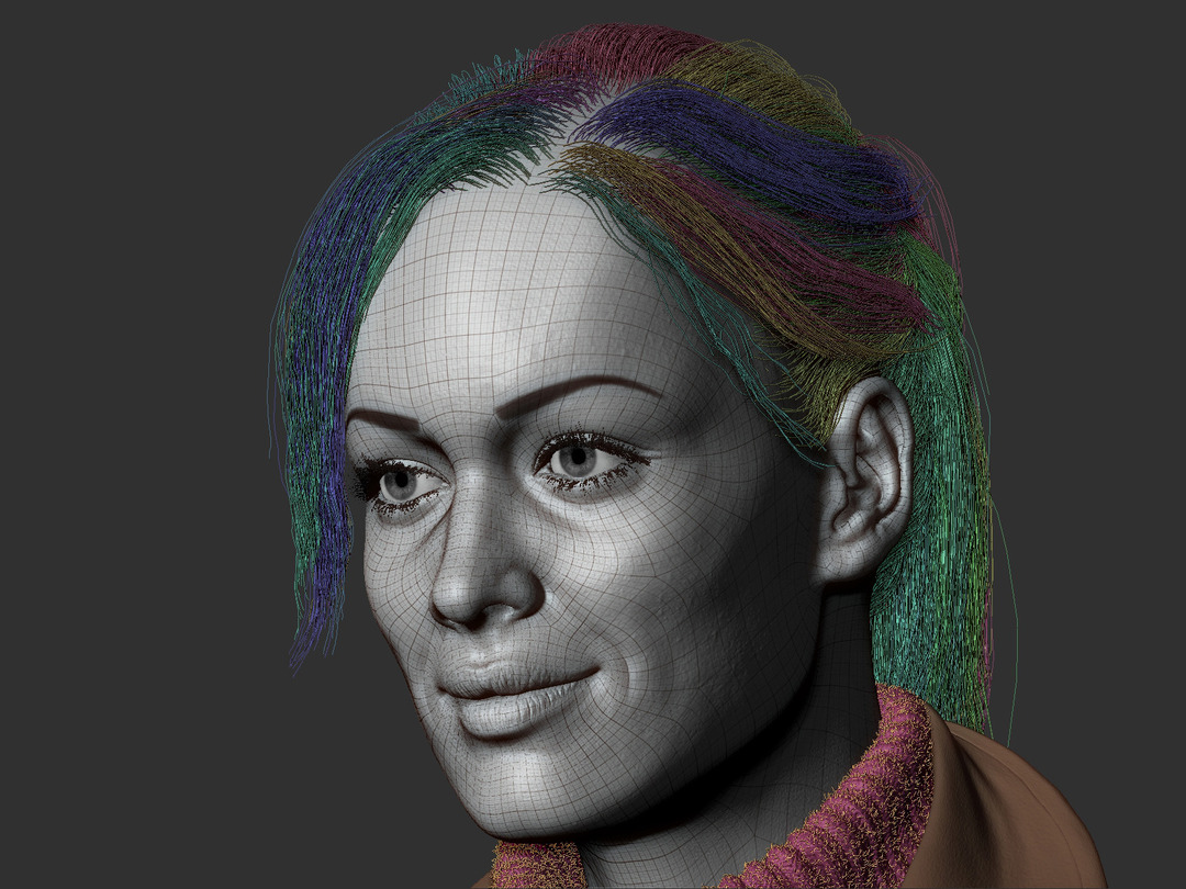 zbrush wireframe girl with fiber mesh