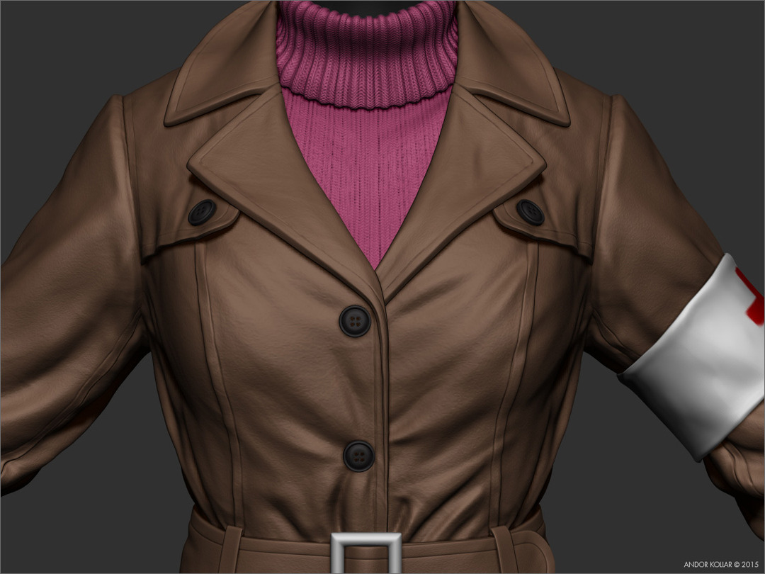 Woman trench coat in ZBrush