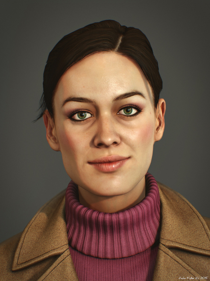 Nice girl smile in Marmoset Toolbag
