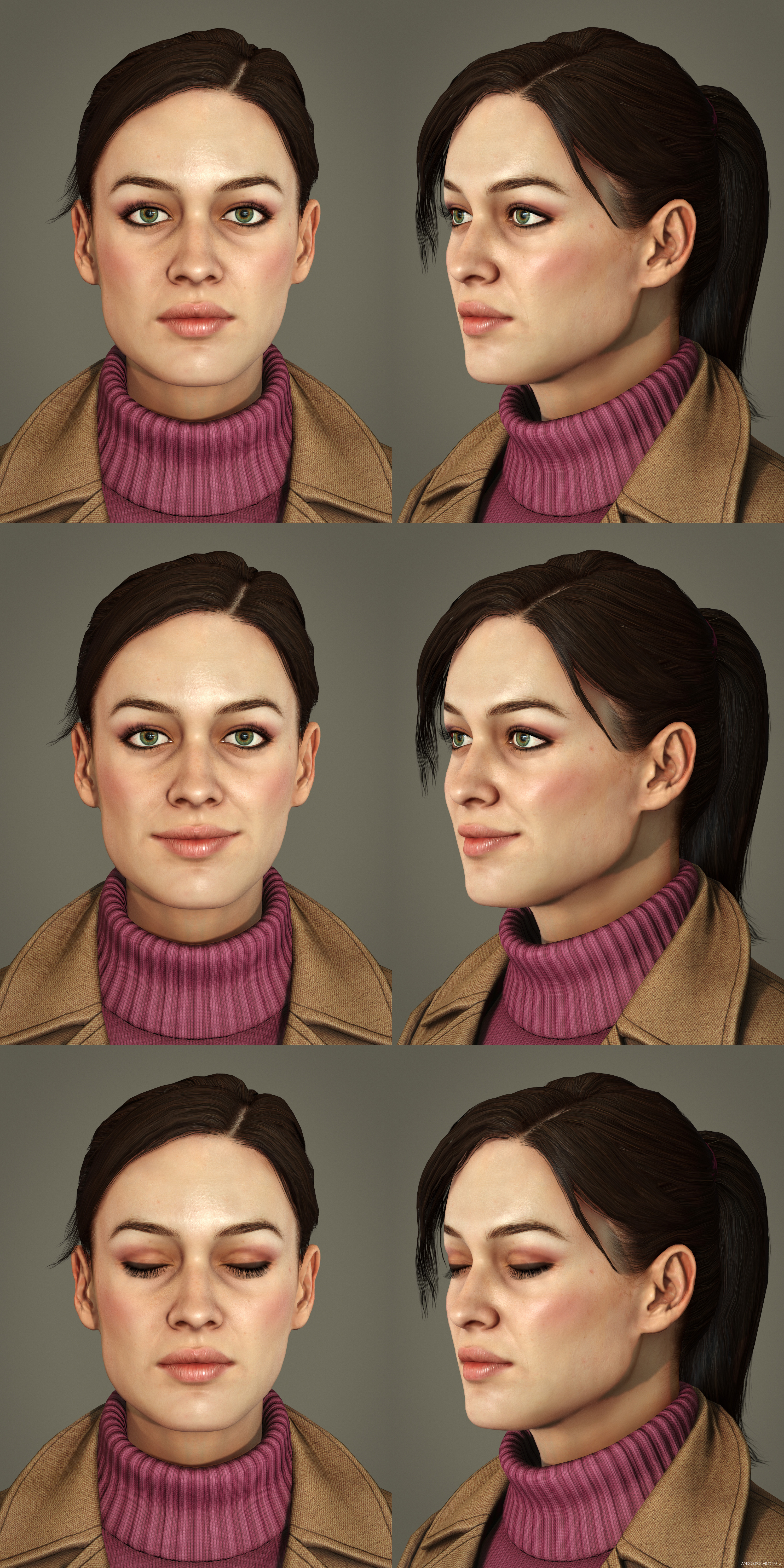 Girl female blend shapes and facial expressions neutral smile closed eye