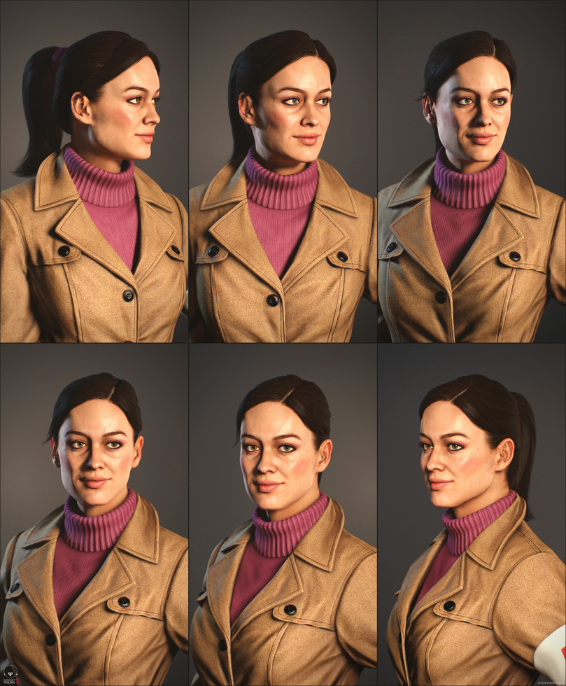 Nice girl character portrait with ponytail and trench coat with sweater in Marmoset Toolbag