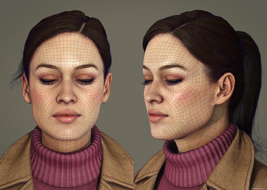 Girl closed eye blink wireframe