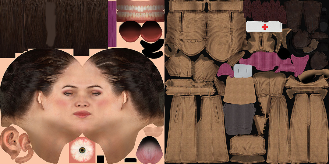 Girl woman female game character textures