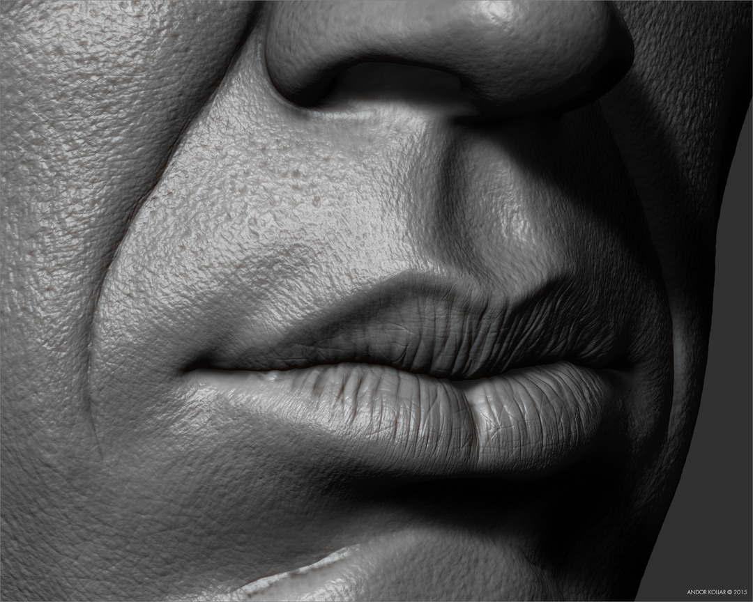 3d ZBrush detailed mouth lips sculpting
