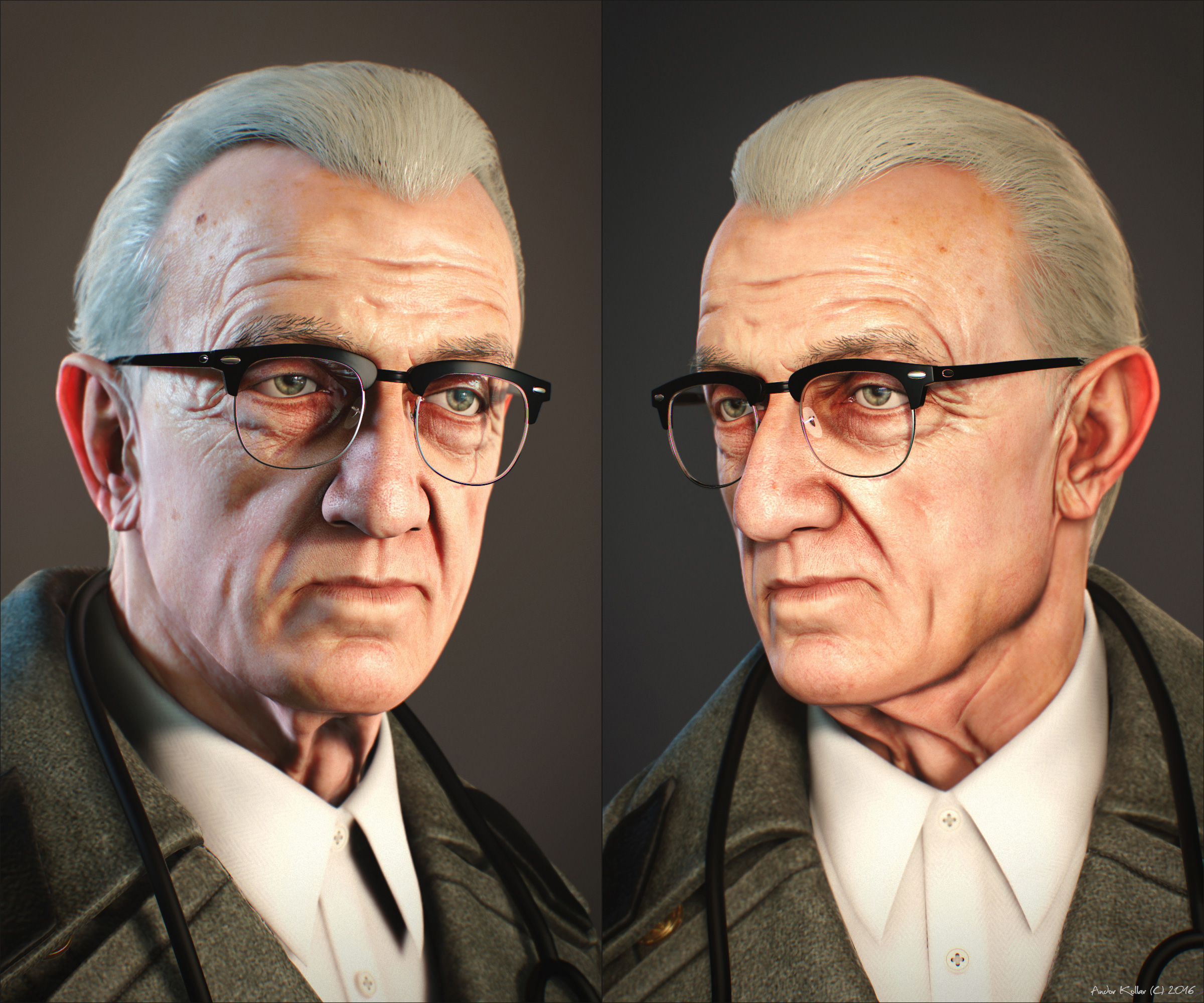 Andor Kollar 3d Old Doctor Portrait Ray-Ban Clubmaster
